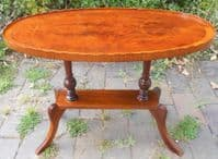 Oval Yew Pedestal Coffee Table